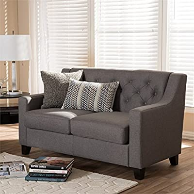 Baxton Studio Arcadia Upholstered Loveseat in Gray