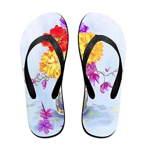 Women Men Painting PTJHKET Oil Kids Slippers for Flowers Flip Flops Black 44qxBTf