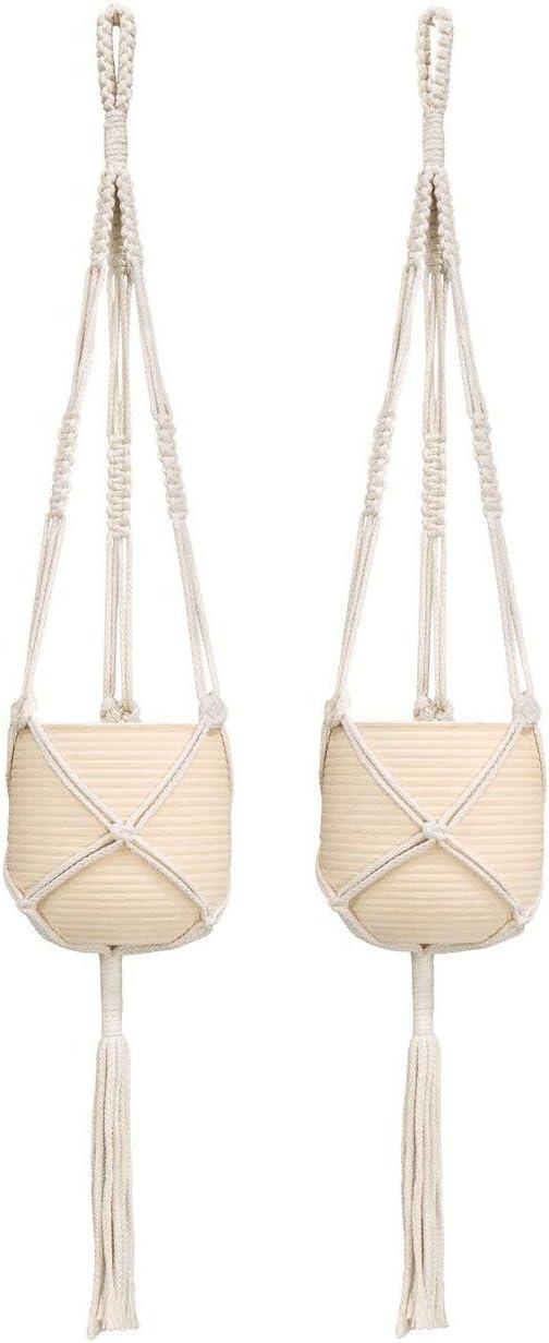 Mkono 2 Pcs Macrame Plant Hanger Indoor Outdoor Hanging Planter Basket Cotton Rope 3 Legs 39 Inch