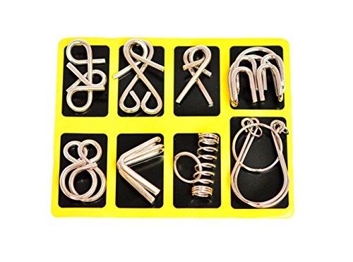 HLJgift IQ Toys IQ Test Mind Game Toys Brain Teaser Metal Wire Puzzles Magic Trick Toy Metal IQ Puzzle Set of (Halloween Brain Teaser)