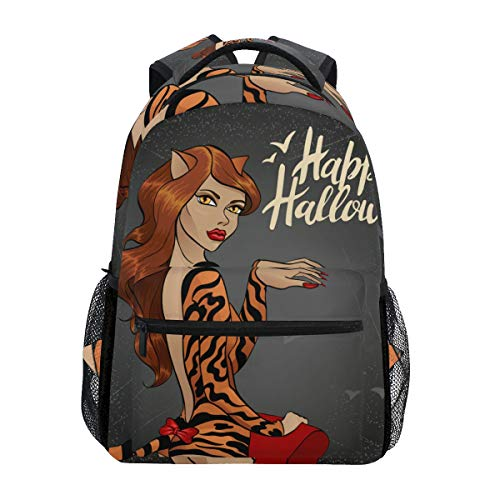 TARTINY Vector Illustration Halloween Cat Woman Lightweight School backpack Students College Bag Travel Hiking Camping Bags