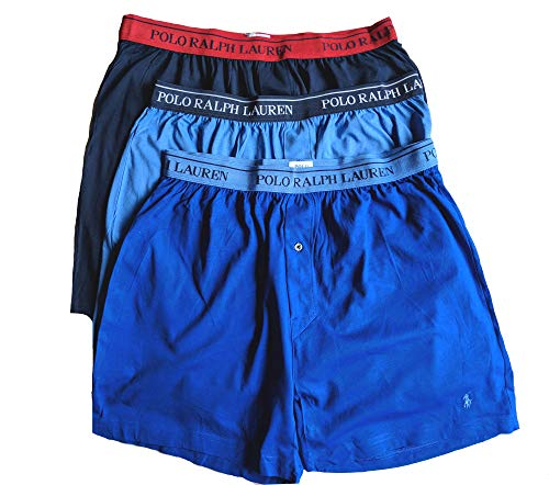 - Polo Ralph Lauren Men's Classic Fit w/Wicking 3-Pack Knit Boxers Aerial Blue/Rugby Royal/Cruise Navy X-Large