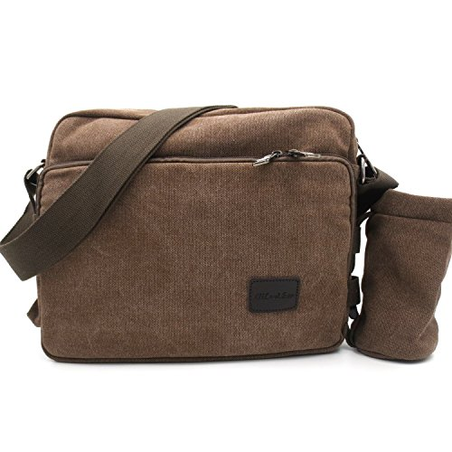 messenger bag for women, Multifunction Versatile CanvasMens Womens Handbag Messenger Shoulder Bag for iPad Leisure Change Packet with Small Water Bag Coffee by MiCoolker (Image #3)