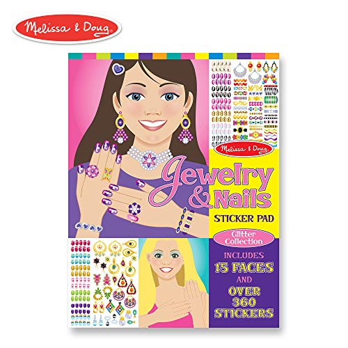 (Melissa & Doug Jewelry and Nails Glitter Sticker Pad - 360+ Stickers, 15 Faces)