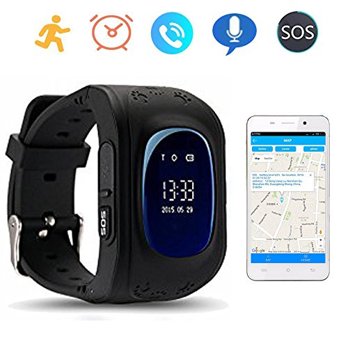 Smart Watch GPS Tracker for Children Two Way Communication GPS LBS AGPS Location Student/Kids with Pedometer Fitness Q50 (Black)