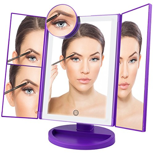 ESARORA Vanity Mirror, Led Makeup Mirror with 10x/3x/2x/1x Magnification, Trifold Lighted Makeup Mirror with 4 Tubular Light Bars, Touch Screen, 180° Adjustable Rotation, Dual Power (Purple Mirror)