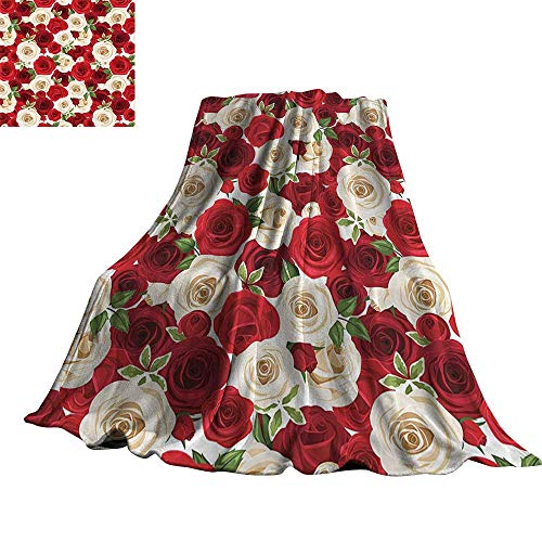 WinfreyDecor Roses Decorations Collection Super Soft BlanketsBunch of Colorful Roses Blooms Leaves Luxury Natural Close Up Artwork 90