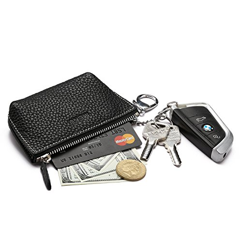 MEKU Women's Leather Zip Coin Purse Change Purse Car Key Wallet ID Card Holder with 2 Key Rings (Zip Coin Holder)