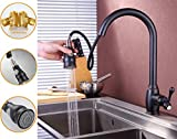 SonTiy ORB Bronze Pull Out Kitchen Faucet Kitchen Single Handle Single Lever Prep Bronze Pull Down Sprayer Kitchen Sink Faucet,Oil Rubbed Bronze