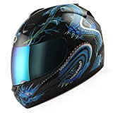Motorcycle Street Bike Blue Dragon Full Face Adult Helmet