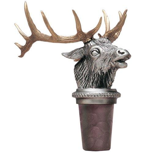 Elk w/Brass Antlers Pewter Bottle Stopper