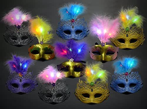 Ginzick® 12 Pack LED Mardi Gras Masquerade Party Feather LED Masks - Assorted Colors