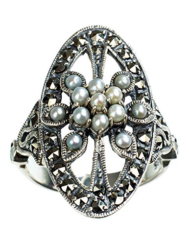 Oval Shield Cultured Seed Pearl Sterling Silver Ring (size 5) - Dahlia Vintage Collection