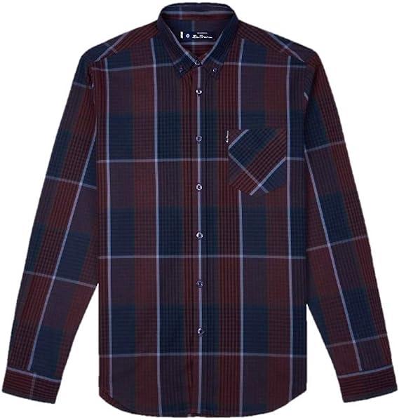 Ben Sherman 0056227 - Camisa de manga larga, diseño de cuadros, color vino: Amazon.es: Ropa y accesorios