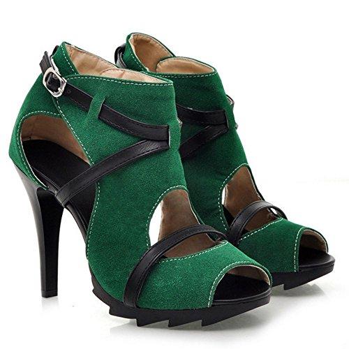 Femmes Vert Talon Chaussures Wrap À Peep Cheville Coolcept Sandales Orteil Mode Les BxqRwfOnR