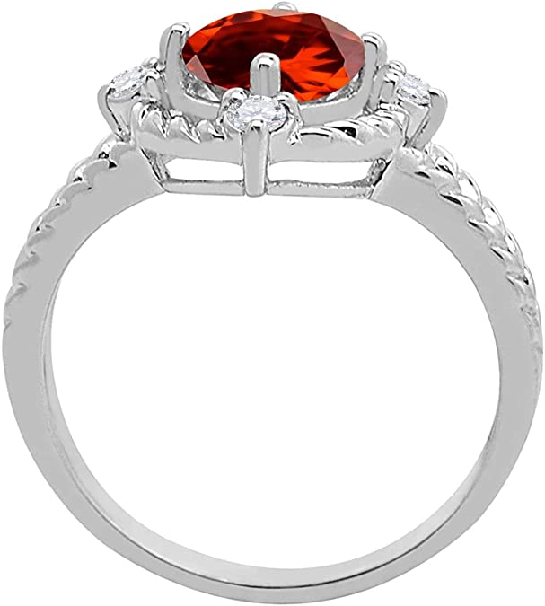 14KT White Gold Garnet Gem Ring Vintage Jewelry Women Bands Gift Size 8
