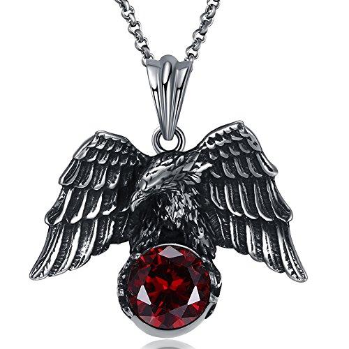 JAJAFOOK Vintage Gothic Stainless Steel Pendant Necklaces Silver Black Soaring Eagle Biker Necklace Chain