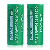 26650 Battery Flat Top 5250mAh, Shockli IMR 26650 High Drain 30A 3.7v Rechargeable Li-ion Battery (2 pcs)- Ideal for Aegis