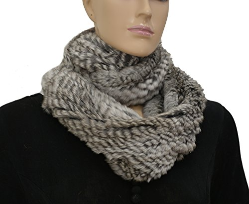 47'' Chinchilla Rabbit Fur Infinity Scarf Grey by Hima