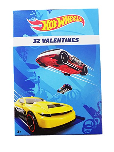 2018 Hot Wheels 32 Valentine Cards for Classroom Sharing with 8 New Designs
