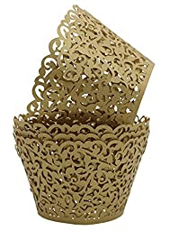 Sharing Star 100 Pieces Filigree Artistic Muffin Case Cupcake Paper Cup Liner Little Vine Lace Laser Cupcake Wrappers for Wedding Party Birthday Decoration (Champaign Gold)