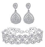 Finrezio Rhinestone Choker Necklace Teardrop Earrings Set for Women Layered Chokers Dangle Earrings Wedding Bridal Jewelry