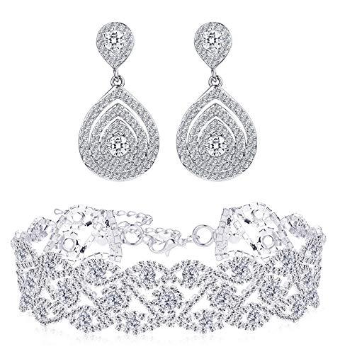(Finrezio Rhinestone Choker Necklace Teardrop Earrings Set for Women Layered Chokers Dangle Earrings Wedding Bridal Jewelry)