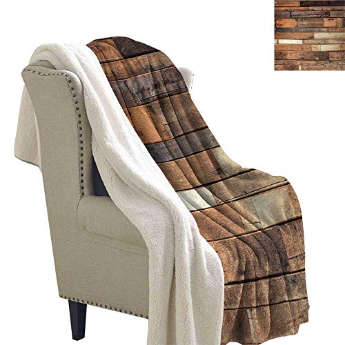Jinguizi Wood Print Blanket Small Quilt Rustic Floor Planks Digital Printed Grungy Look Farm House Country Style Walnut Oak Grain Image Super Soft Blanket for Coach Sofa,Bed 60x78 Inch Brown ()