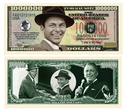 Frank Sinatra Million Dollar Novelty Bill Collectible
