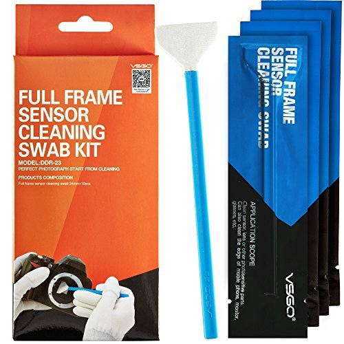 Professional Cleaning Kit for DSLR Cameras Full Frame (CCD/CMOS) Sensor Cleaning Swabs (10 X 24mm Swabs) by VSGO