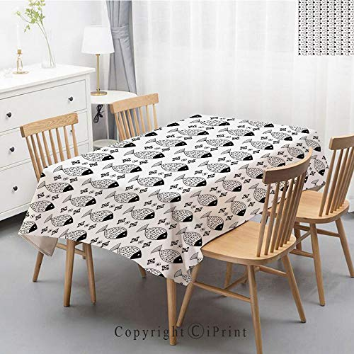 Natural Cotton Linen Rectangle Tablecloth Garden Botanic Print Pattern Country Rustic Village Burlap Table Cover Cloth Art,40x60 Inch,Modern Decor,Ocean Sea Life Fish Geometric Shapes Stripes Contempo