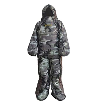 Prettyia Adult Full Body Wearable Sleeping Bag with zips Easy on and Off for Outdoor Camping
