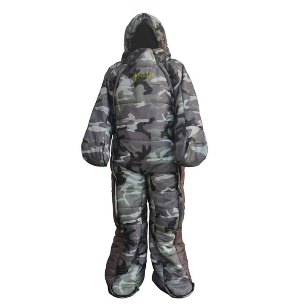 Prettyia Adult Full Body Wearable Sleeping Bag with zips Easy on and Off for Outdoor Camping Office Hospital - M