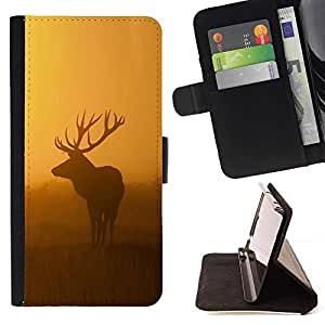 For Samsung Galaxy A3 morning nature deer moose sunset sunrise Style PU Leather Case Wallet Flip Stand Flap Closure Cover