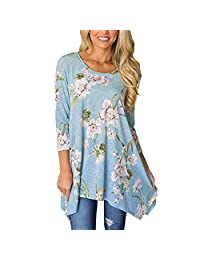 Women Loose Flowers Long Sleeve Shirts Tops Blouse for Work Party Vintage Elegant