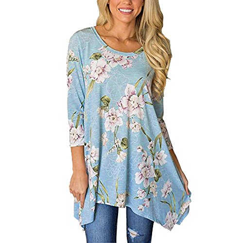 LYN Star✨ Women's Floral Print 3/4 Sleeve Irregular Hem Asymmetrical Tunic Loose Long Blouse Tops High Low Tee Shirts Blue