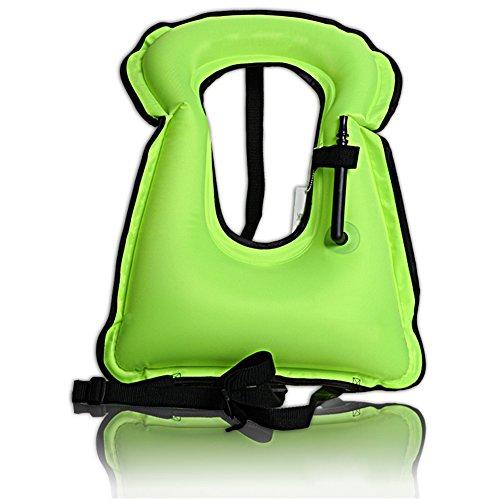 Isafish Portable Inflatable Life vest Safety Kayak Diving Life Jacket Bright Coloured Buoyancy Vest Snorkel Vest for Adult Kids Fluorescent green (Vest Snorkel Child)