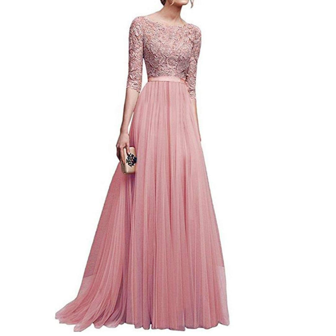 WuyiMC Clearance Women Retro Floral Lace Long Dress 1/2 Sleeve Bridesmaid Wedding Evening Party Cocktail Maxi Gown Dresses (Pink, S)