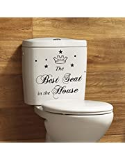 BIBITIME Toilet Stickers Funny The Best Seat in The House Bathroom Vinyl Quote Home Art Mural,28x30cm