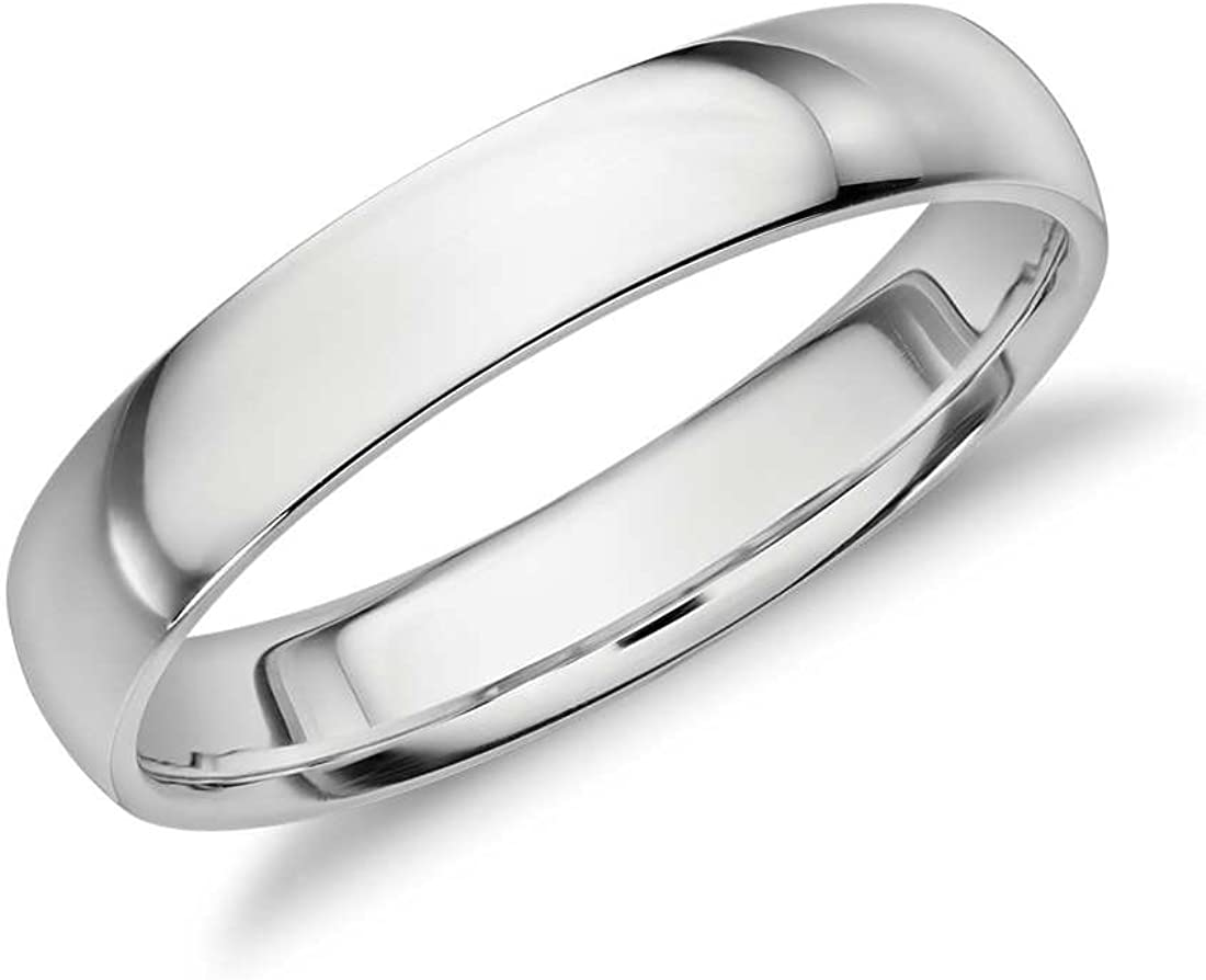 4mm Sterling Silver High Polish Plain Dome Tarnish Resistant Comfort Fit Wedding Band Ring Sizes 6-12