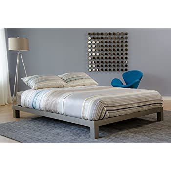 Ordinaire Aura Metal Platform Bed Champagne, (Gray) Comes In Twin, Full, Queen