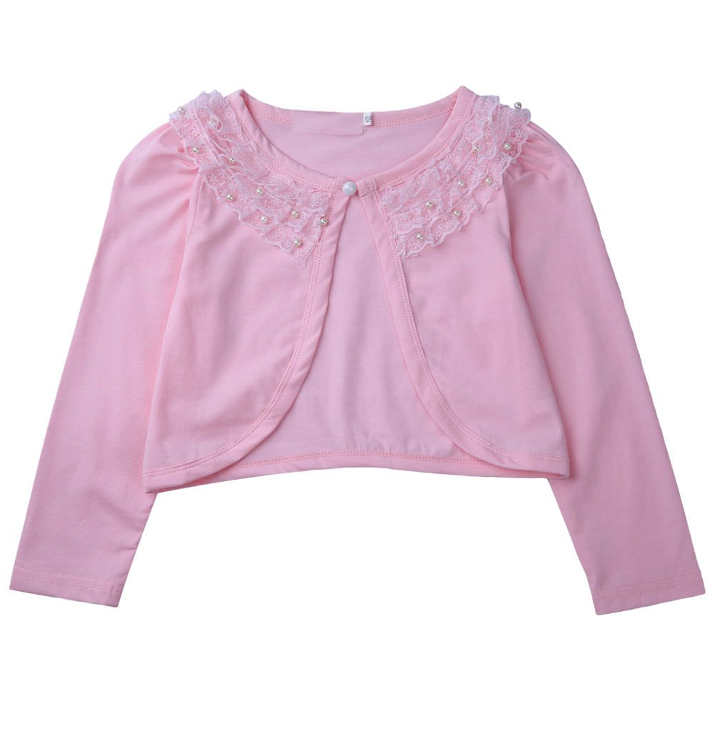 Colorful House Girls Long Sleeve Beaded Lace One Button Cardigan Shrug (130cm,Pink)