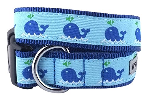 The Worthy Dog Squirt Whale Adjustable Designer Pet Dog Collar, bluee, XL