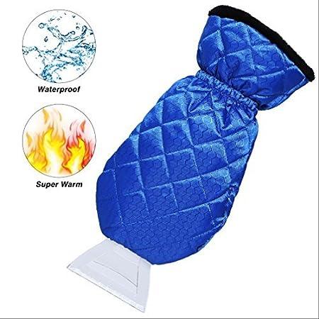 Dolloly Ice Scraper Mitt for Car Windshield Ice Scrapers with Waterproof Glove Thick Fleece Windshield Snow Scraper Mitt Smart-H