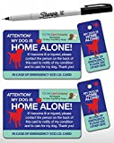 2 Pk. My Dog is Home Alone Pet Alert Emergency ICE ID Plastic Wallet Card and Keytag (Qty. 2 w/1 Sharpie from TLC)