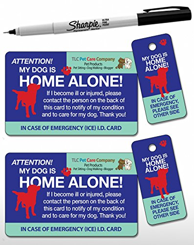 2 Pk. My Dog is Home Alone Pet Alert Emergency ICE ID Plastic Wallet Card and Keytag (Qty. 2 w/1 Sharpie from TLC) by TLC Safety By Design