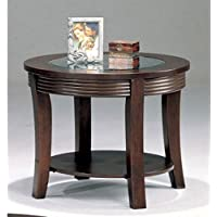 Simpson 5524 28 Round End Table with Beveled Glass Top Curved Legs and Bottom Shelf in Cappuccino Finish
