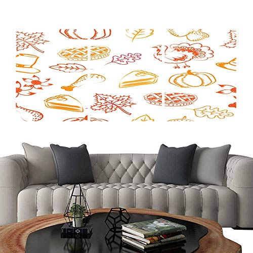 UHOO Triptych Art SetSeamless Pattern with Hand Drawing and Doodle Style Vector and Illustration of Thanksgiving Ideas Pumpkin Pie Cake Turkey hat Maple Leaf and Acorn in red and Orange Color. Modern]()