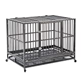Sliverylake 3XL 48' Heavy Duty Metal Dog Crate Cage Pet Kennel Playpen Exercise w/ Wheels Tray US