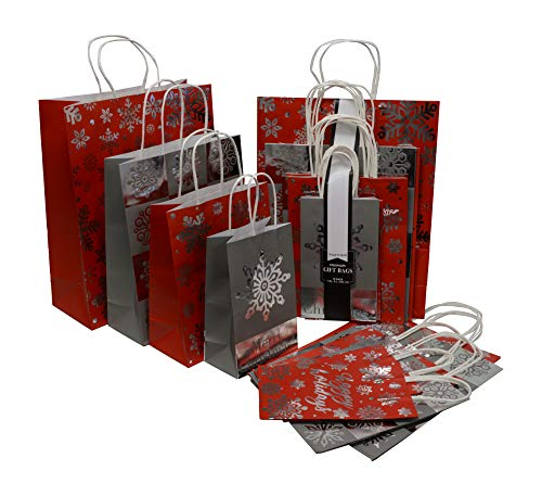 Christmas Gift Bags in 4 Assorted sizes Small Medium Large and X-Large Kraft Paper With Metallic Hot Stamp in Assorted Colors Red, and Silver, for Holiday Gift Giving and Party Favors (Set of 20 Bags)